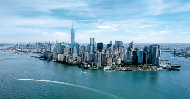 Aerial view of New York Aerial view of Manhattan, New York hudson river stock pictures, royalty-free photos & images