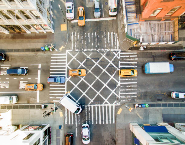 Aerial view of new york street Aerial view of new york street soho new york stock pictures, royalty-free photos & images