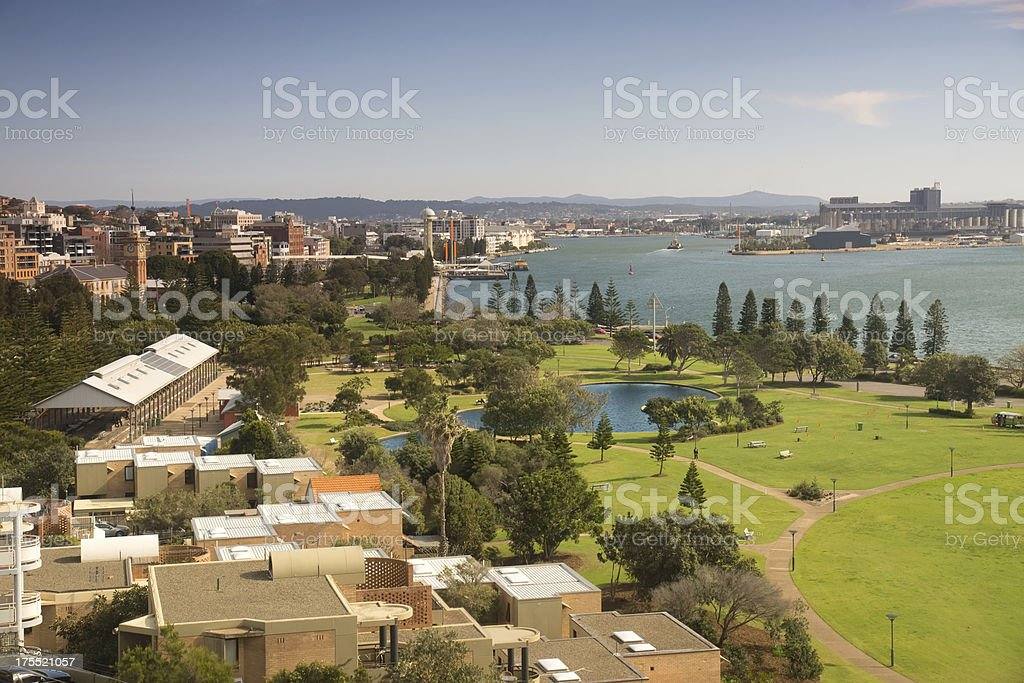 Aerial view of Newcastle, Australia with harbor stock photo
