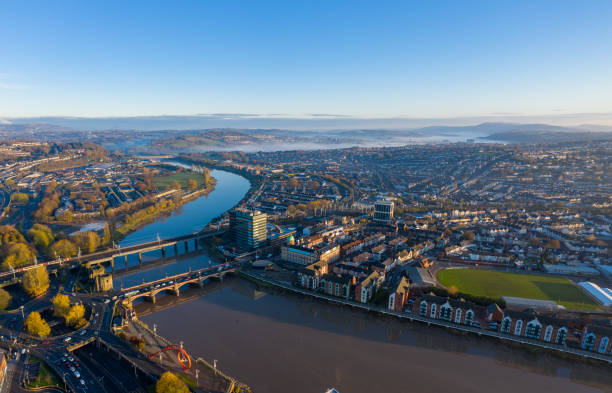 Aerial view of Newport City, South Wales An aerial view at sunrise of Newport city centre, south wales United Kingdom, taken from the River Usk south wales stock pictures, royalty-free photos & images