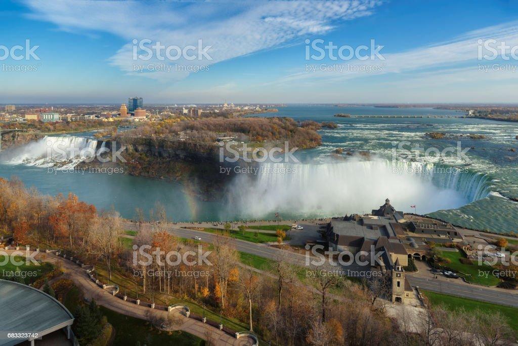 Aerial view of Niagara Falls in autumn, Niagara, Canada zbiór zdjęć royalty-free