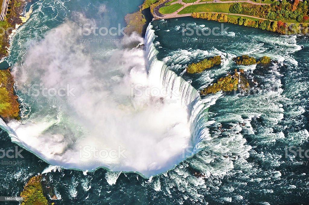 Aerial view of Niagara waterfall stock photo