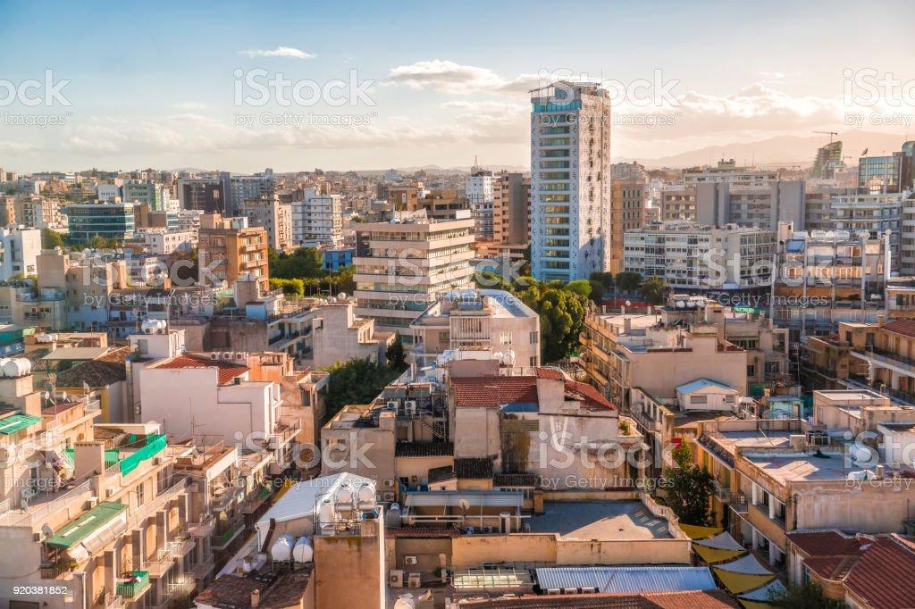 Aerial view of Nicosia city, Cyprus stock photo