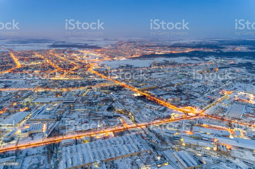 Aerial View of Night City at Winter stock photo