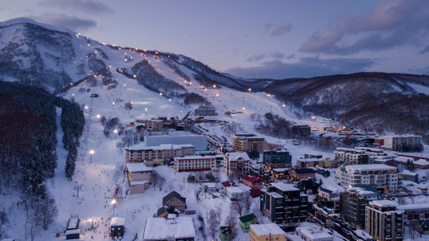 Aerial view of Niseko ski village stock photo