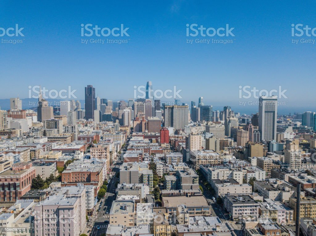 Aerial View of Nob Hill and the Financial District in San Francisco stock photo