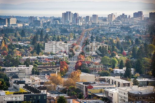 istock Aerial view of north Oakland on a sunny autumn evening 1028489132