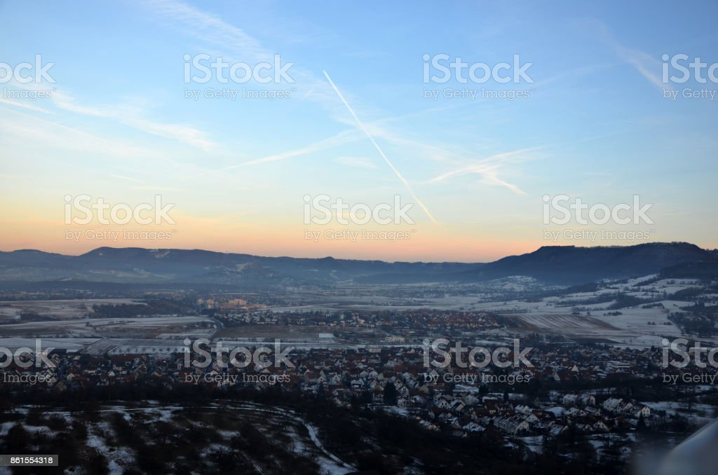 Aerial view  of north rim of Swabian Alps, Germany during sunset stock photo