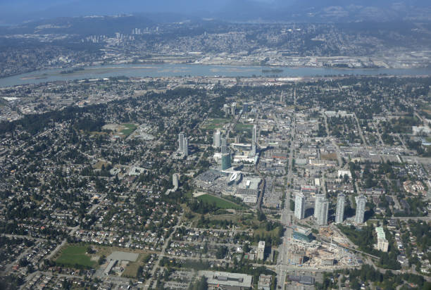 Aerial View of North Surrey, British Columbia, Canada stock photo