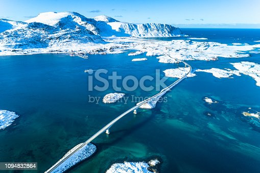 Aerial view of Norway sunny winter