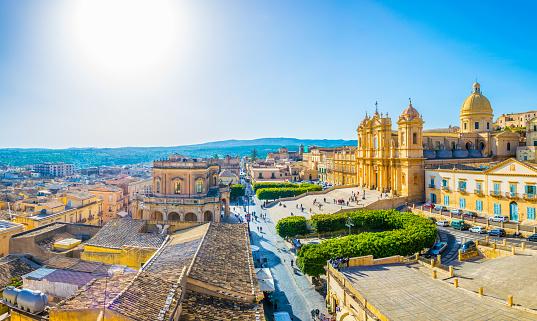 Aerial view of Noto including Basilica Minore di San Nicolò and Palazzo Ducezio, Sicily, Italy