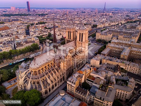 Notre Dame Cathedral at sunrise light from above