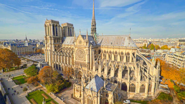Aerial view of Notre Dame Cathedral in Paris, France stock photo