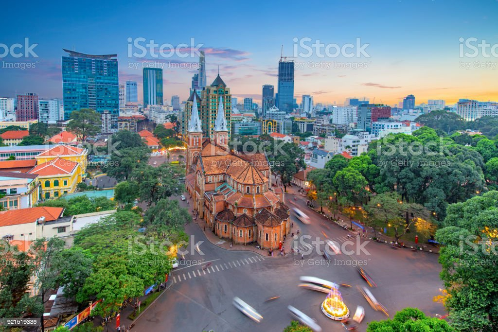 Aerial view of Notre-Dame Cathedral Basilica of Saigon stock photo