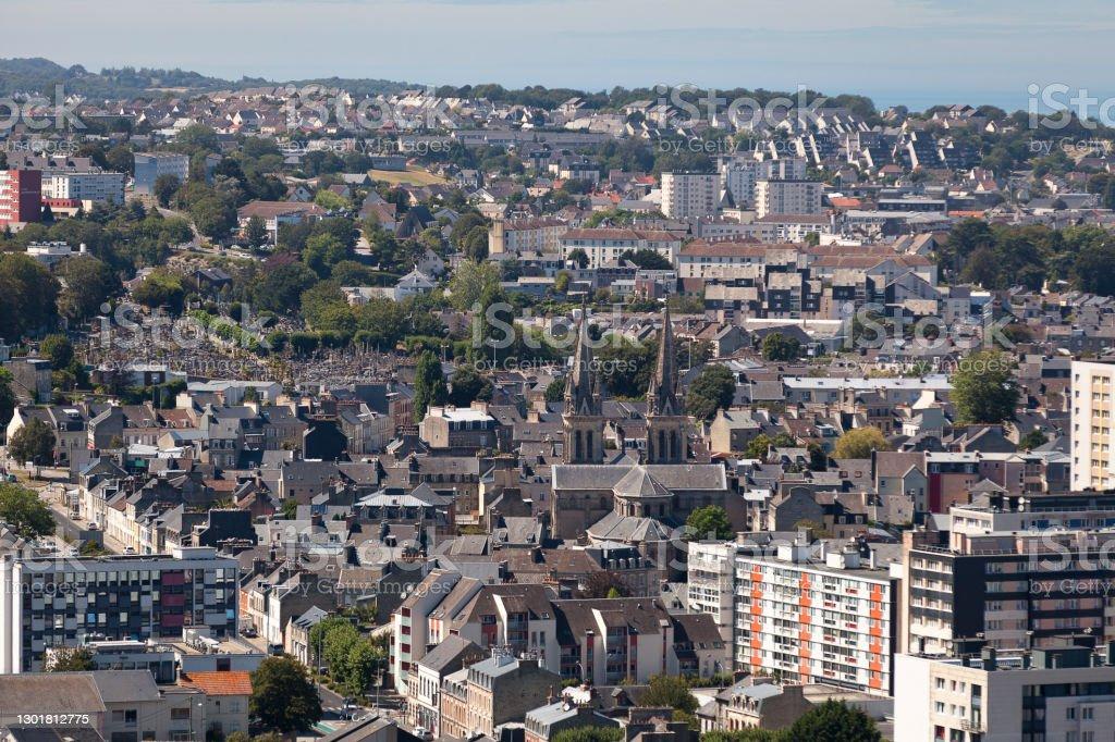 Aerial view of Notre-Dame-du-Voeu church in Cherbourg-en-Cotentin Aerial view of Notre-Dame-du-Vœu church, in Cherbourg, today part of Cherbourg-en-Cotentin. Aerial View Stock Photo