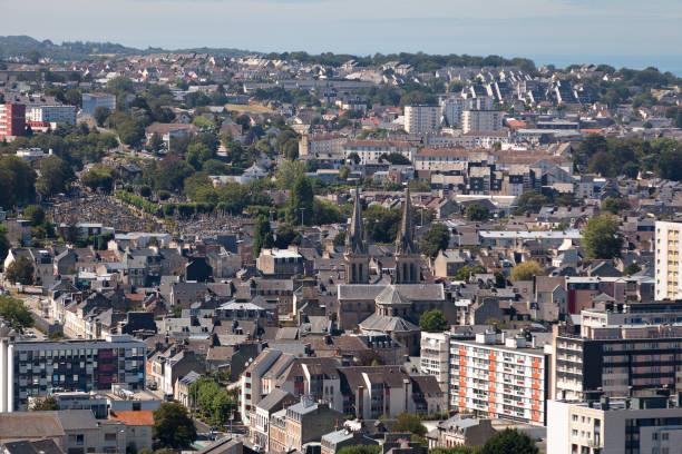 Aerial view of Notre-Dame-du-Voeu church in Cherbourg-en-Cotentin stock photo