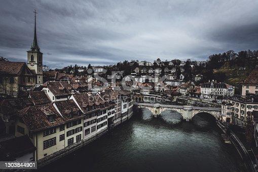 Aerial View of Nydeggbrücke Bridge And Nydeggkirche During Autumn In Bern, Switzerland