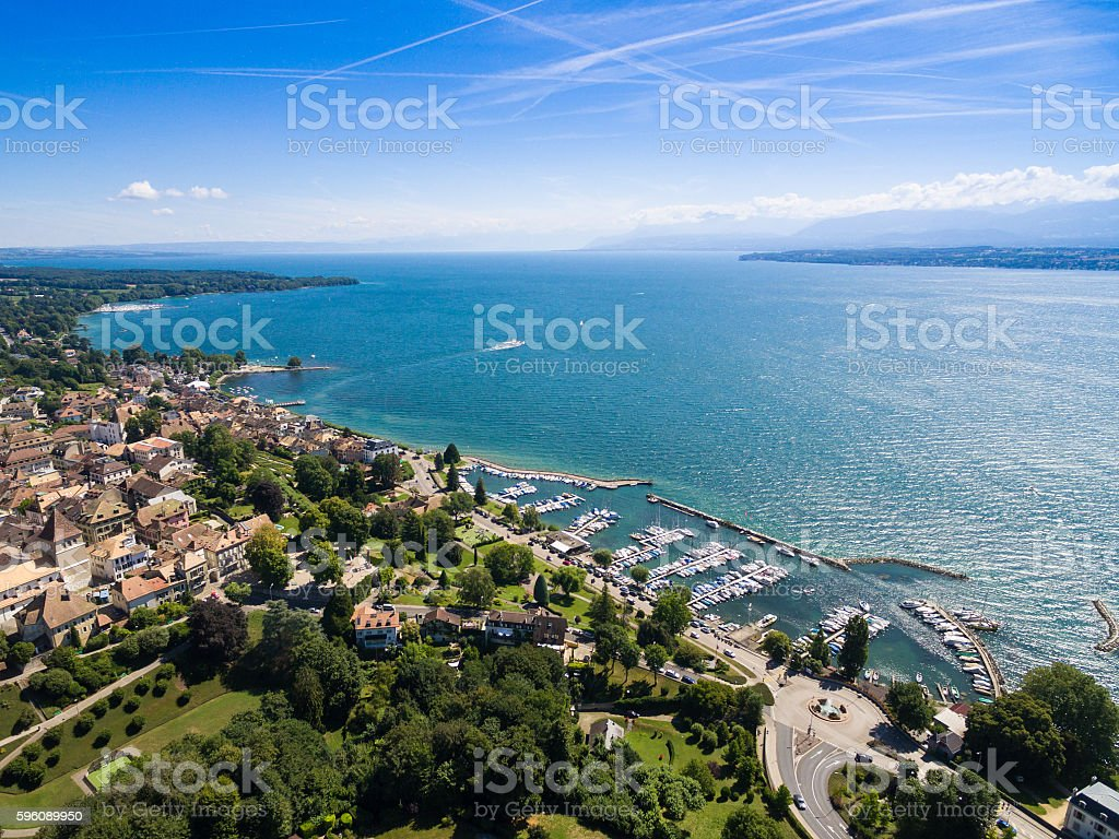 Aerial view of Nyon old city and waterfront in Switzerland royalty-free stock photo