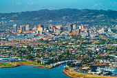 Aerial view of Oakland, CA from the bay