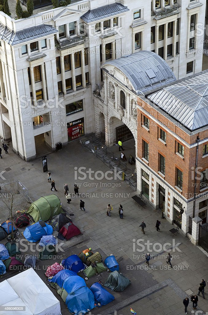 Aerial view of Occupy London camp outside St Paul's Cathedral stock photo