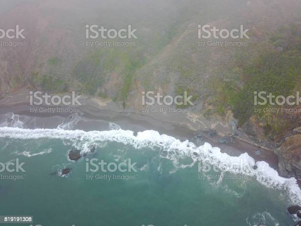Aerial View Of Ocean And Northern California Coast Stock Photo - Download Image Now