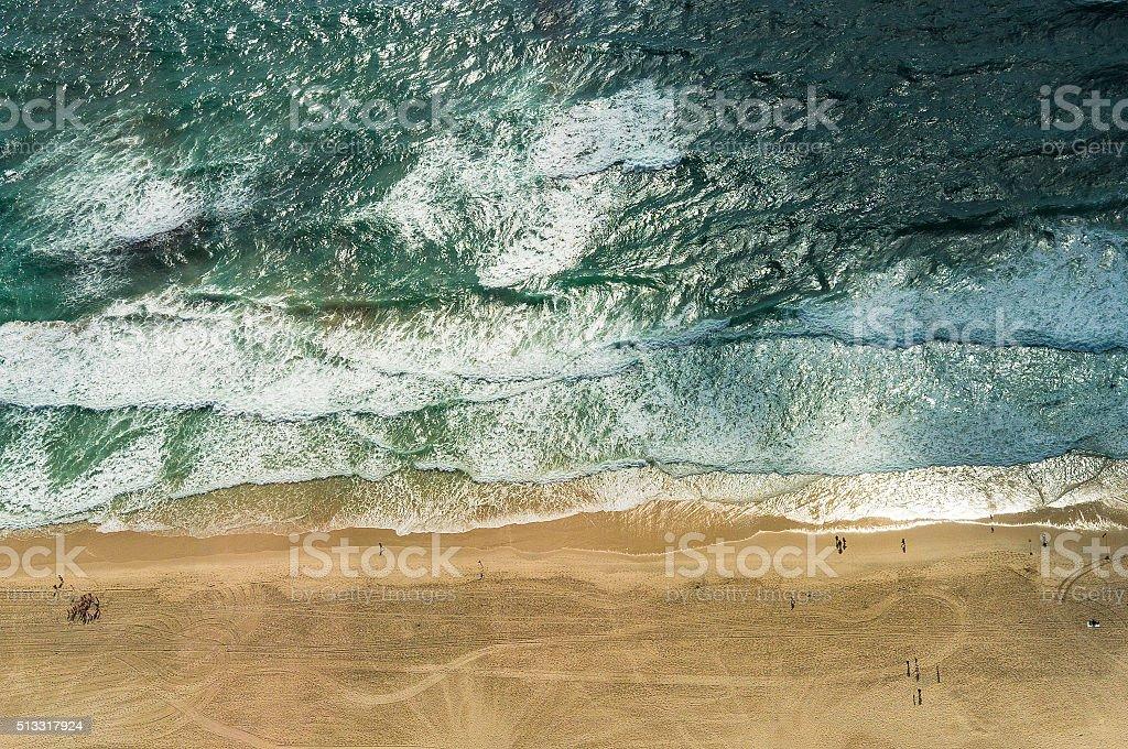 Aerial view of ocean beach stock photo