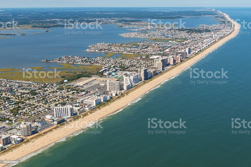 Aerial view of Ocean City, Maryland stock photo