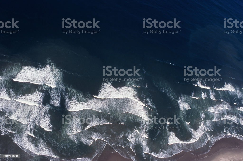 Aerial View of Ocean Wave Off California Coast stock photo