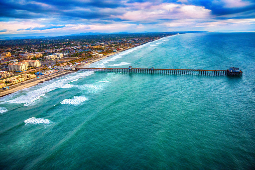 An aerial view of the city of Oceanside, California including the Oceanside Pier located in northern San Diego County.