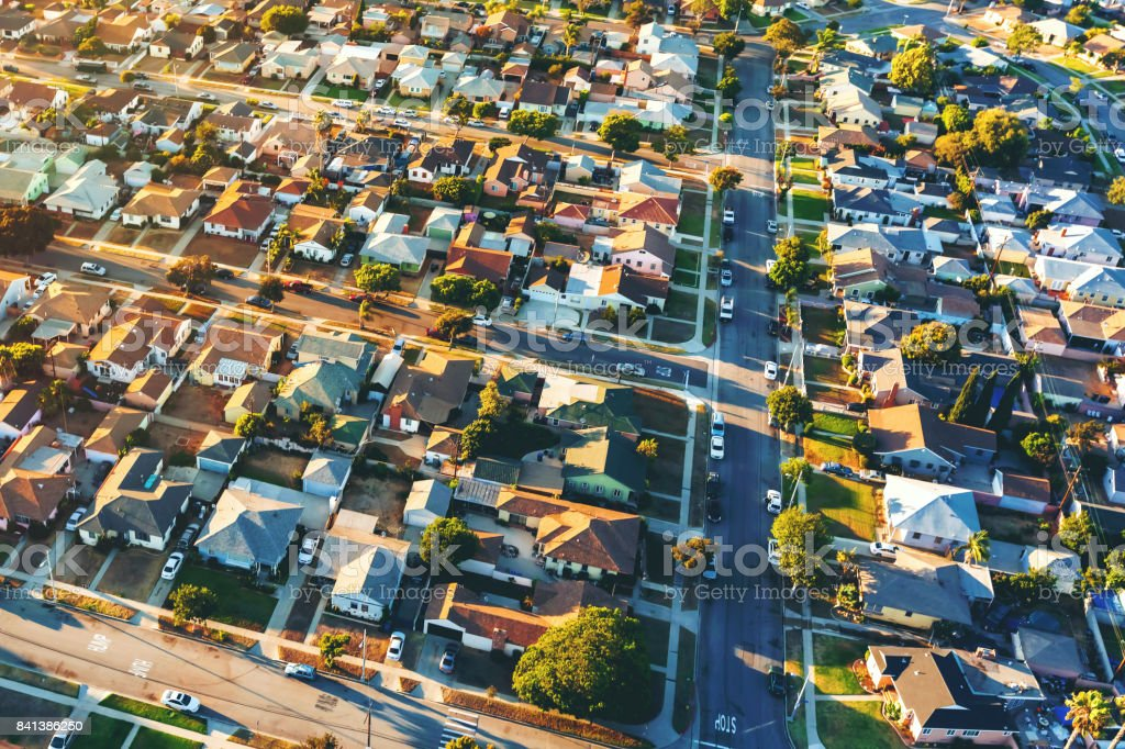 Aerial view of of a residential neighborhood in LA stock photo