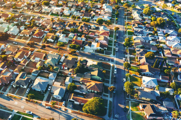 aerial view of of a residential neighborhood in la - residential district stock pictures, royalty-free photos & images