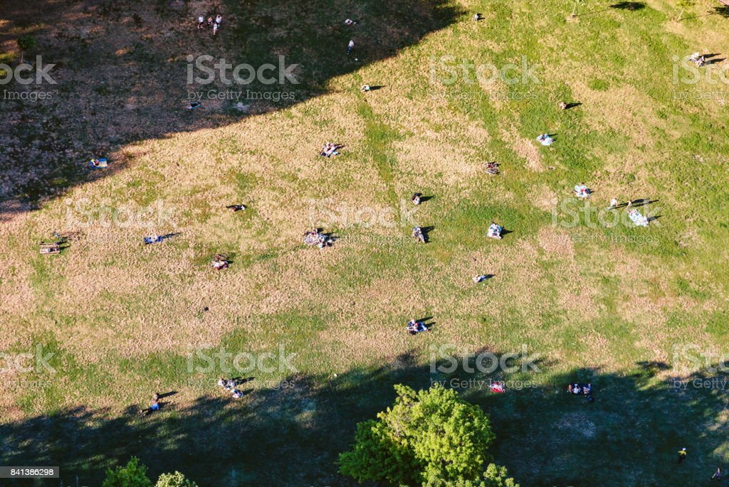Aerial view of of people in Astoria Park in NY stock photo