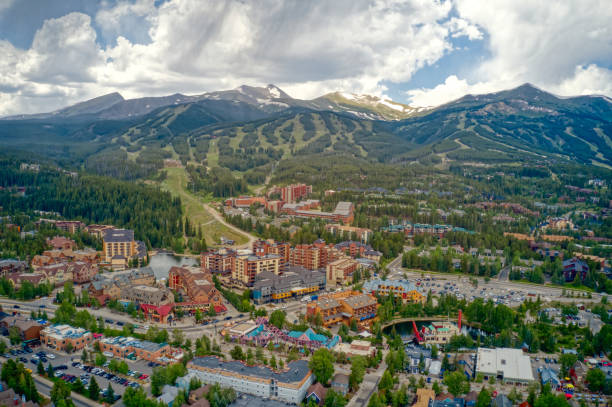 Aerial View of of the famous Ski Resort Town of Breckenridge, Colorado Aerial View of of the famous Ski Resort Town of Breckenridge, Colorado avon colorado stock pictures, royalty-free photos & images