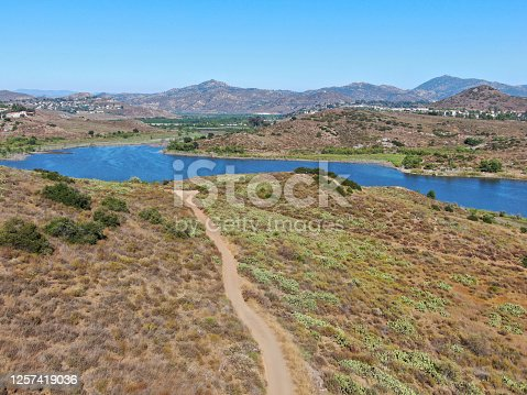 Aerial view of of trail in the Lake Hodges and Bernardo Mountain, great hiking trail and water activity in Rancho Bernardo East San Diego County, California, USA