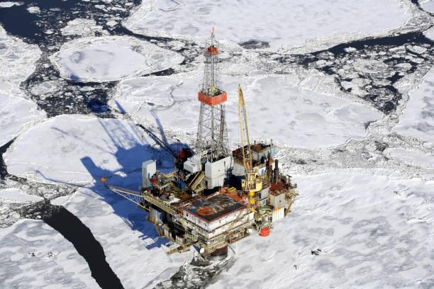 오프 쇼어 석유 굴착 장치의 공중 보기 스톡 사진
