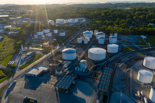 Aerial view of oil wells and distribution facility in Knoxville, Tennessee.