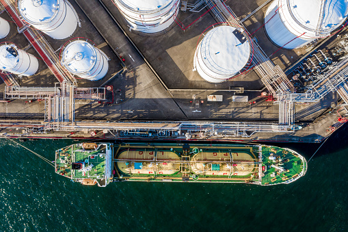 Aerial View of Oil Refinery and Fuel Storage Tanks, Tsing Yi, Hong Kong