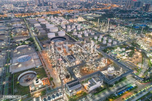 Aerial view of Oil refinery and gas industry in Petrochemical plant at twilight