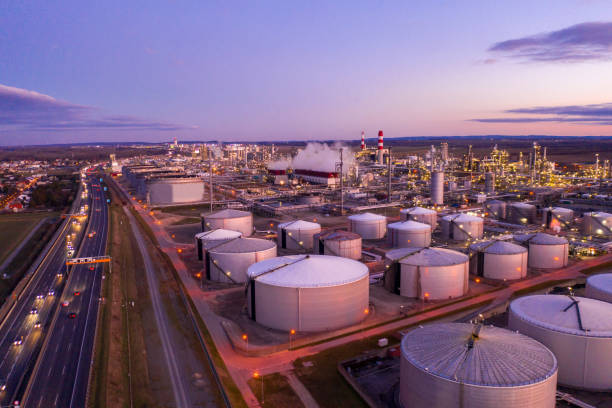 Aerial view of oil refinery at sunset. stock photo