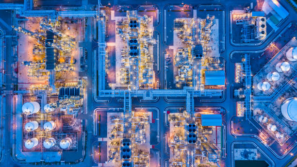 Aerial view of oil refinery Aerial view of oil refinery chemical plant stock pictures, royalty-free photos & images