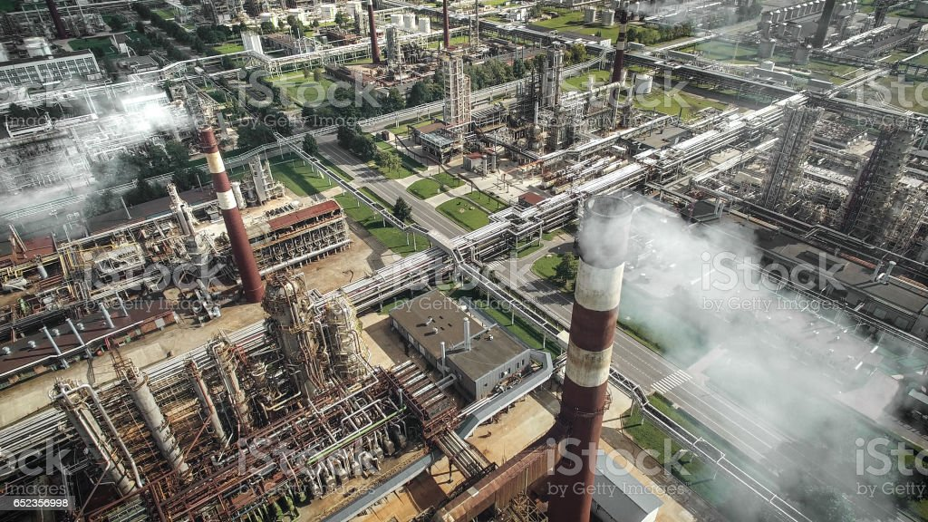 Aerial view of oil refinery plant stock photo