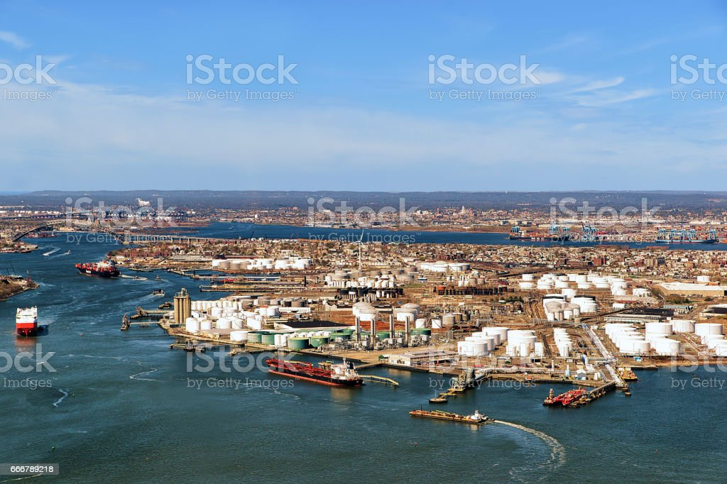 Aerial view of oil storages in Bayonne stock photo
