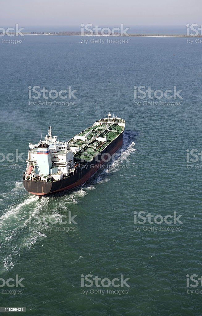 Aerial view of Oil Tanker royalty-free stock photo
