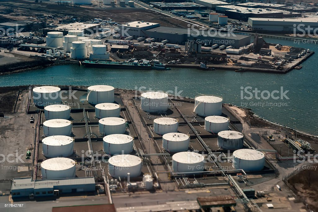 Aerial view of oil terminal stock photo