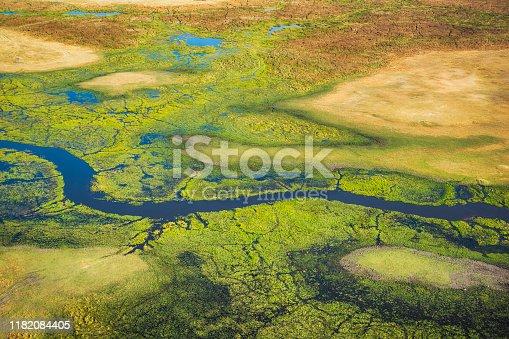 Aerial view of meandering Khwai River in Moremi National Park in Okavango Delta, Botswana, Africa.