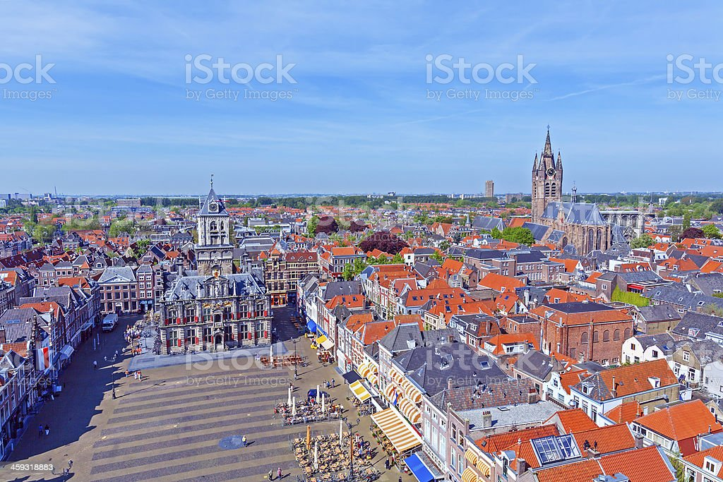 Aerial View of Old City, Delft, Holland stock photo