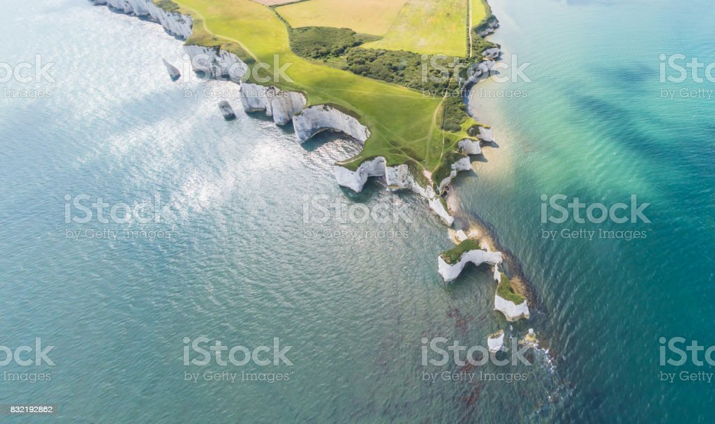 Aerial View of Old Harry Rocks and Purbeck Hills royalty-free stock photo