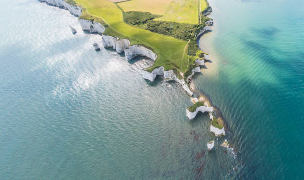 Aerial View of Old Harry Rocks and Purbeck Hills stock photo