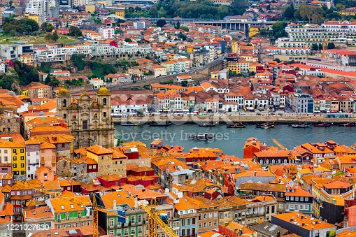 Aerial view of old historical buildings of Porto city and Vila Nova de Gaia with Douro River in Portugal