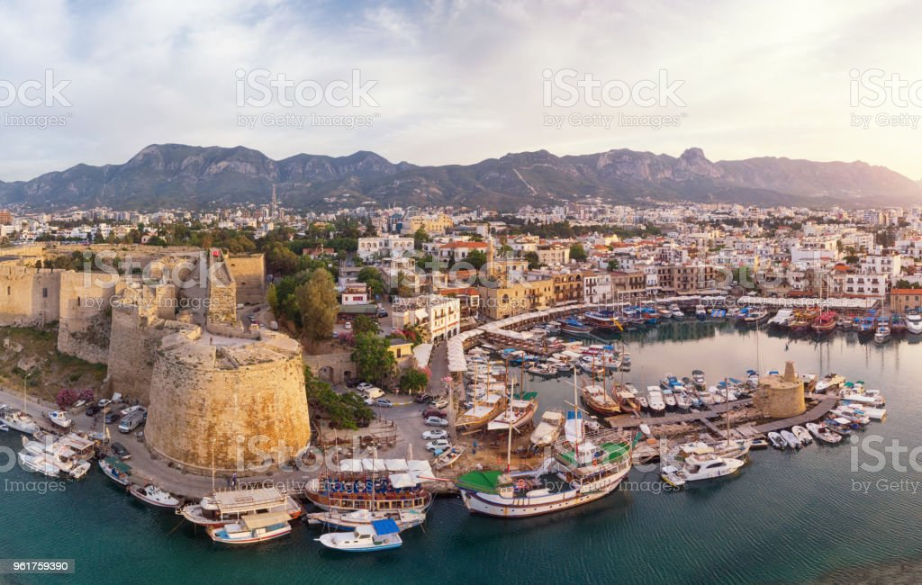 Aerial View of Old Marina of Girne (Kyrenia), Cyprus stock photo